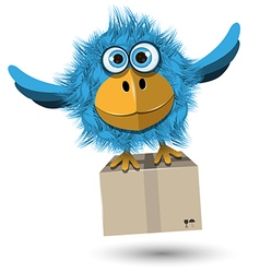 Blue Bird with a box vector image vector image