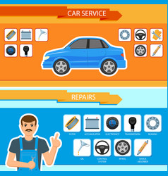car repair mechanics services infographics vector image