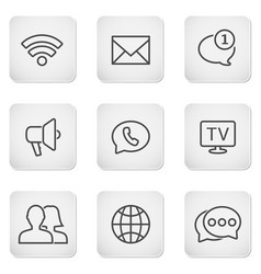 contact buttons set - mobile icons vector image vector image