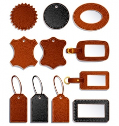 leather labels vector image vector image
