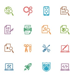 SEO and Internet Marketing Colored Icons - Set 1 vector image vector image