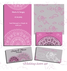 Set of wedding invitation cards with angels vector image