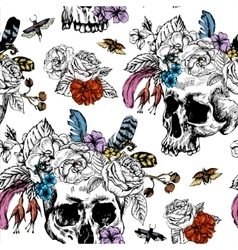 Skull Flowers Day of The Dead Black and vector image