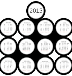 2015 black circles calendar for office vector image