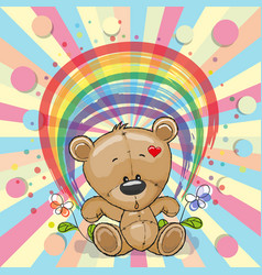 bear with rainbow vector image vector image