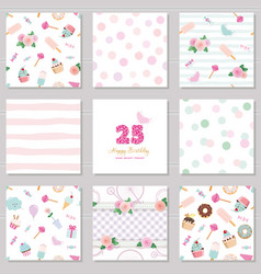 birthday templates set cute seamless patterns vector image vector image