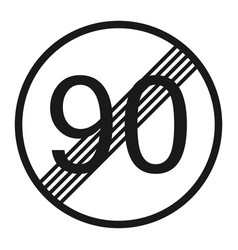 end maximum speed limit 90 sign line icon vector image vector image