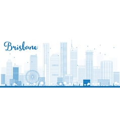Outline Brisbane skyline vector image