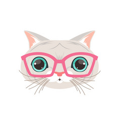 cute white cat wearing pink glasses funny cartoon vector image vector image