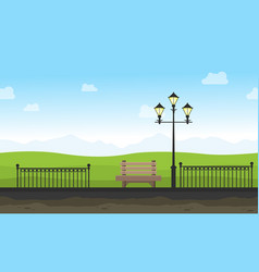 garden with street lamp landscape for background vector image vector image