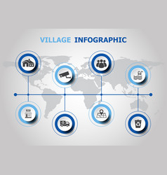 infographic design with village icons vector image vector image