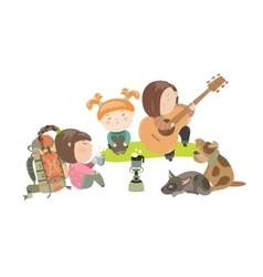 Kids on a Camping Trip with Dogs vector image