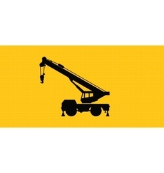 mobile crane site construction isolated silhouette vector image