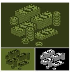 Piles of money set vector image