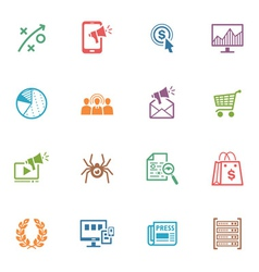SEO and Internet Marketing Colored Icons - Set 3 vector image vector image