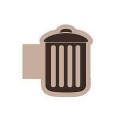 color emblem with silhouette metal trash bin vector image