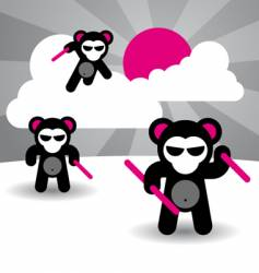 ninja bears vector image