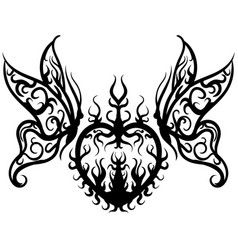 tattoo sketch heart with butterfly vector image
