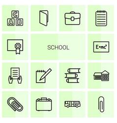 14 school icons vector
