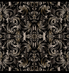 3d baroque seamless pattern floral dark vector image