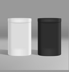 3d white and black round paper box isolated vector