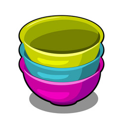 a stack of polymer bowls of different colors vector image