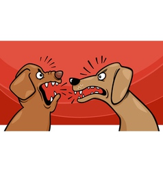 angry barking dogs cartoon vector image