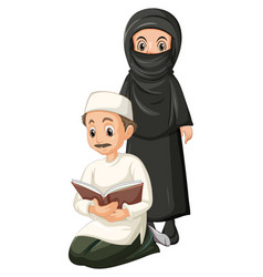 Arab muslim man and woman in traditional clothing vector