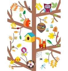 Autumn tree with animals flat vector image