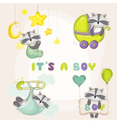 Baby racoon set - for shower card vector