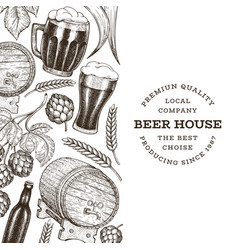 beer and hop design template hand drawn brewery vector image