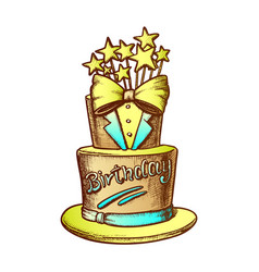 birthday cake decorated in suit form ink vector image