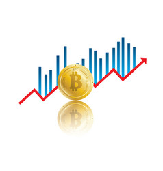 bitcoin golden chart vector image