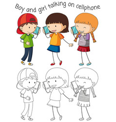 Boy and girl talking on cellphone vector