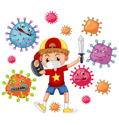 Boy fighting with virus vector
