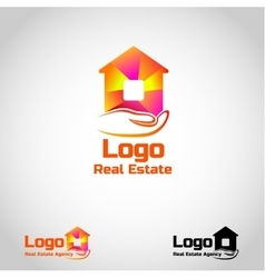 Bright real estate agency logo template with house vector
