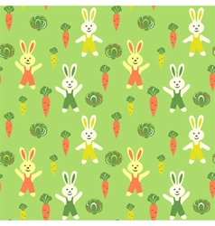 Bunnies cartoon with carrots and cabbage vector image