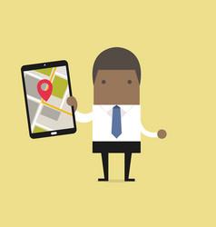 businessman holding tablet with navigation map vector image