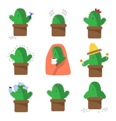 cactus cartoon character flat on white background vector image