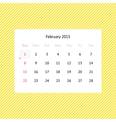 Calendar page for February 2015 vector image