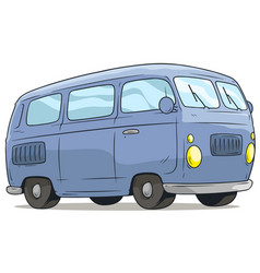 cartoon cute blue retro van bus icon vector image