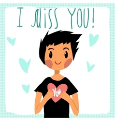 Cartoon I miss you flat greeting card vector