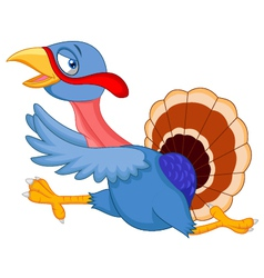 Cartoon turkey running vector