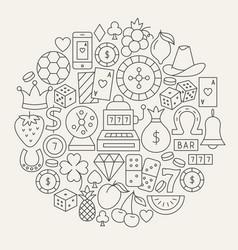 Casino line icons circle vector