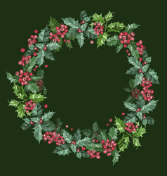 christmas wreath with berries on green background vector image