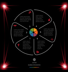 Circle lines infographic 6 positions dark vector