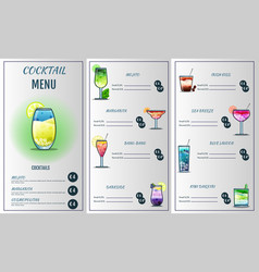 cocktail menu design templatecocktail list cover vector image