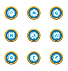 Coins of the world icons set flat style vector