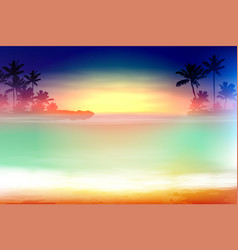 Colorful sea sunset with palm trees vector