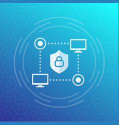 Computer network cyber security icon vector